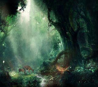 Обои на телефон олень, пейзаж, зеленые