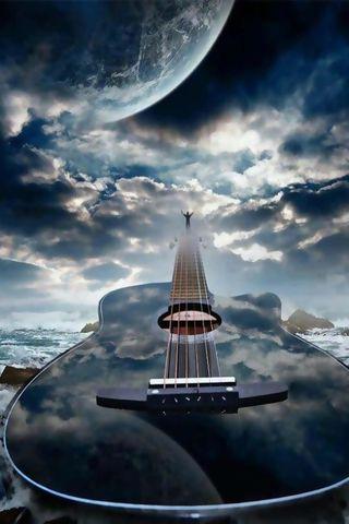 Обои на телефон мечта, синие, новый, небо, любовь, земля, гитара, love