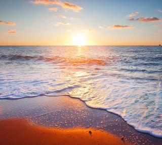 Обои на телефон песок, море, закат, sen, sea sunset