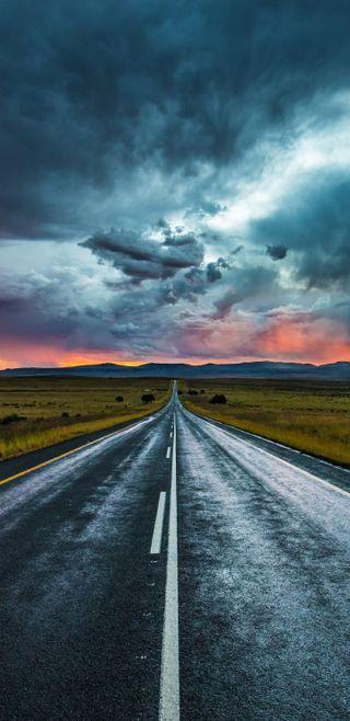 Обои на телефон облачно, природа, пейзаж, маршрут, дорога, straight