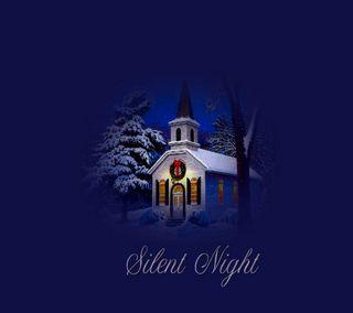 Обои на телефон церковь, тихий, песня, снег, рождество, ночь, музыка, дерево, wreath, silent night