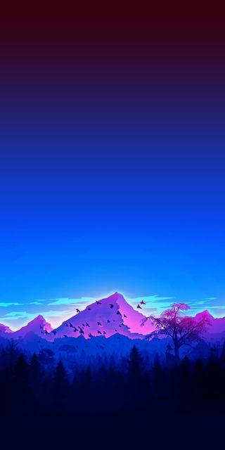 Обои на телефон эпичные, фиолетовые, рисунки, звезда, горы, галактика, арт, galaxy, cozy pac, art, 4k cozy mountain