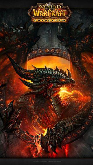 Обои на телефон огонь, мир, дракон, варкрафт, wow, dragon, cataclysm