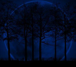 Обои на телефон силуэт, тень, синие, луна