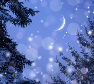 Обои на телефон боке, снег, луна, зима