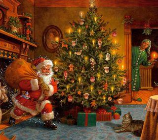 Обои на телефон счастливое, санта, рождество, дерево, xmasgift, tree xmas