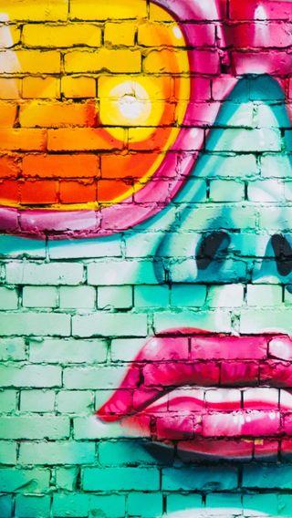 Обои на телефон губы, цветные, девушки, граффити