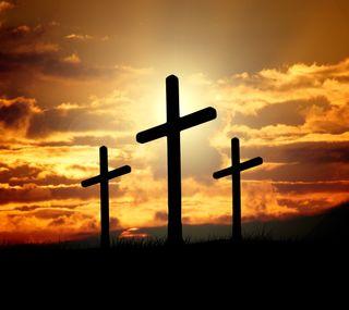 Обои на телефон религиозные, крест, исус, закат