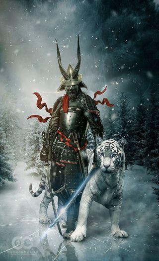 Обои на телефон самурай, тигр, меч, катана, воин, броня, белые, tiger white, japon