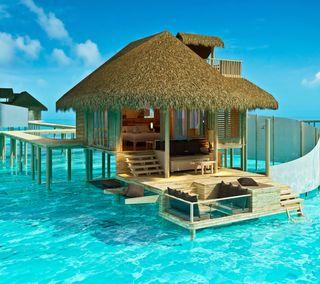 Обои на телефон тропические, тропики, рай, океан, море, дом, qhd tropics