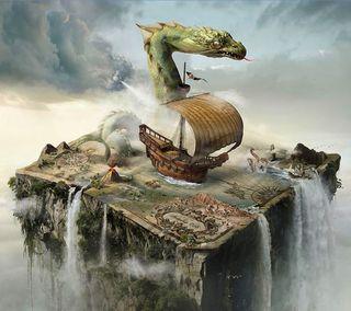Обои на телефон карта, фантазия, осень, мир, корабли, дракон, fantasia dragon