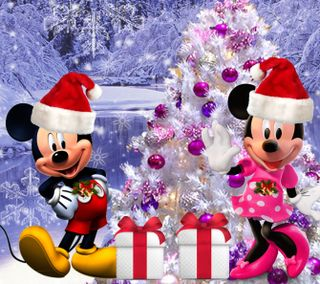 Обои на телефон счастливое, рождество, минни, микки, маус, зима, 1440x1280px