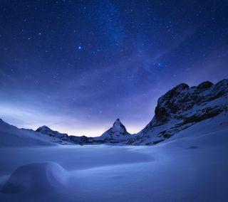 Обои на телефон редми, сяоми, стандартные, снег, природа, ночь, зима, горы, xiaomi, redmi note 3