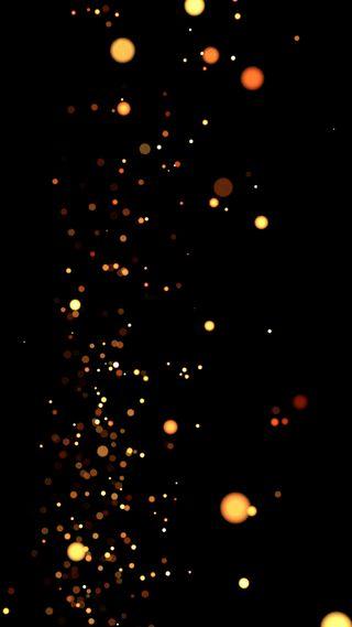 Обои на телефон желтые, черные, темные, ночь, искры, particles, fireflies