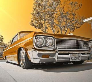 Обои на телефон шевроле, мускул, машины, золотые, закат, gold car, chevrolet, 1964 chevy
