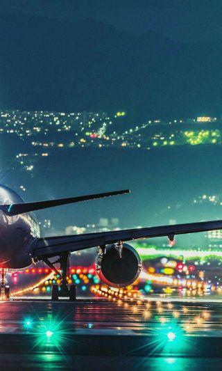 Обои на телефон самолет, летать, огни, plane with lights