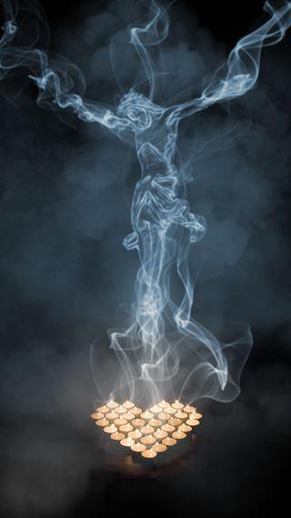 Обои на телефон свечи, господин, исус, дым, бог, s7, jesus in smoke, gunzcoty
