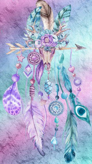 Обои на телефон ловец снов, череп, цветные, синие, радуга, мечта, арт, абстрактные, art