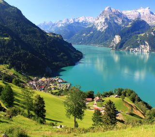 Обои на телефон швейцария, озеро, деревья, горы