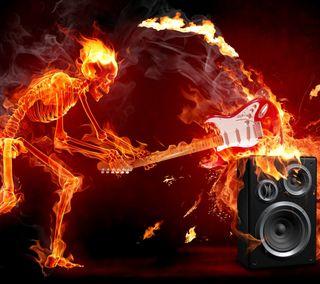 Обои на телефон гитара, череп, огонь, музыка, speakers, flaming