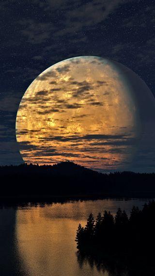 Обои на телефон река, ночь, небо, луна, лес