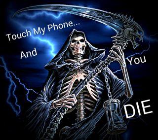Обои на телефон трогать, не, телефон, смерть, скелет, мой, жнец