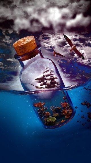 Обои на телефон бутылка, море, вода, mer, eau, bouteille