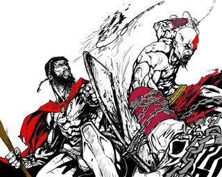 Обои на телефон против, кратос, война, бог, kratos vs leonadis, god of war, 300