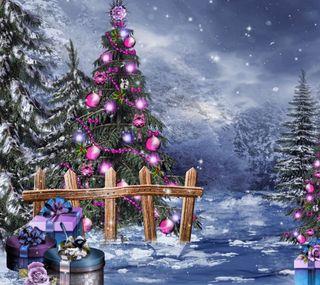 Обои на телефон подарок, счастливое, рождество, ночь, зима, дерево