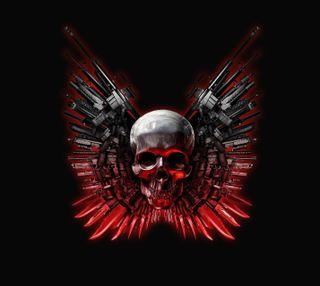 Обои на телефон оружие, череп, фильмы, темные, красые, the expendables, dardroid