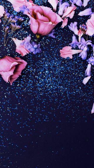 Обои на телефон блестящие, цветы, фиолетовые