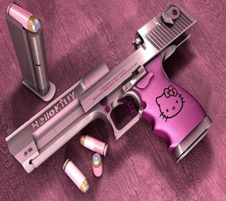 Обои на телефон hello kitty gun, крутые, новый, розовые, кошки, оружие, котята, привет