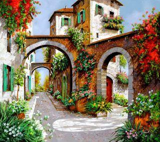 Обои на телефон улица, цветы, street of flowers, -----------------