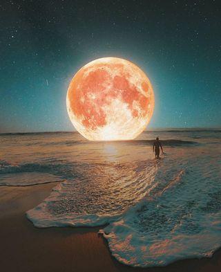 Обои на телефон планета, океан, луна
