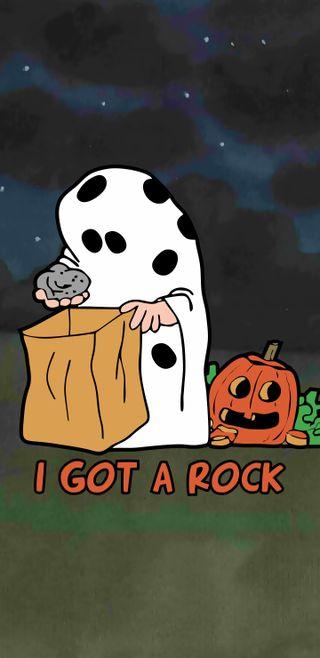 Обои на телефон тыква, хэллоуин, угощение, снупи, рок, обманывать, коричневые, великий, peanuts, i got a rock, charlie