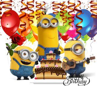 Обои на телефон minions birthday, 2160x1920px, счастливые, мультики, миньоны, день рождения, шары