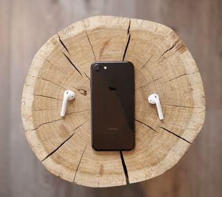 Обои на телефон айфон 7, эпл, черные, дерево, айфон, iphone, black iphone7, apple, 2017