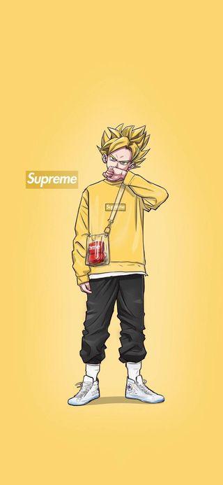 Обои на телефон рэп, гоку, аниме, supreme