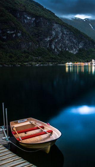 Обои на телефон лодки, синие, озеро, горы, boat hd