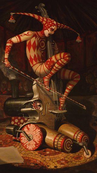 Обои на телефон скрипка, клоун, музыка, картина, арт, steampunk, harlequin, cirque du soleil, circus, art