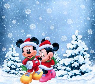 Обои на телефон минни, счастливое, снежинки, рождество, микки, зима, дисней