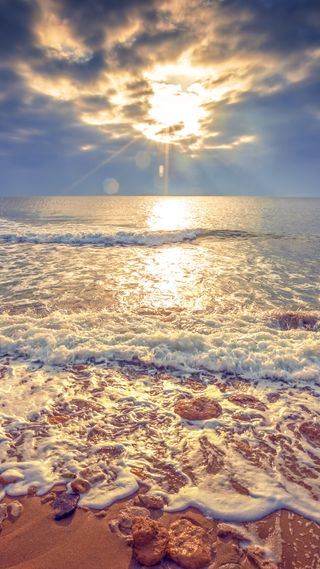Обои на телефон волны, солнце, природа, океан, закат, вода, the ocean