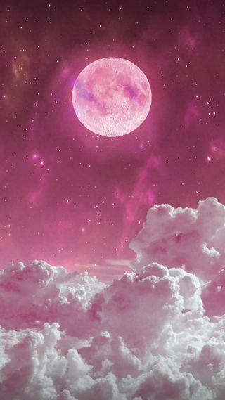 Обои на телефон фиолетовые, университет, розовые, планеты, планета, ночь, луна, звезды, вселенная, salvation, pink moon