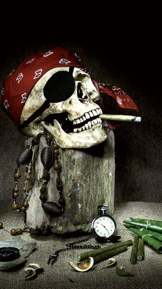 Обои на телефон пираты, череп, сигареты, дым, hashish