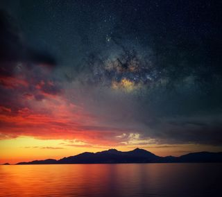 Обои на телефон озеро, ночь, небо, закат, горы, starlit sunset