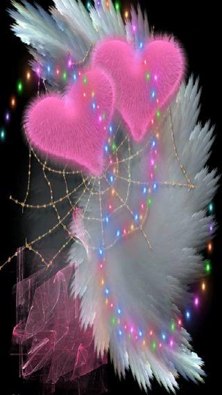 Обои на телефон сердце, розовые, pink hearts, double