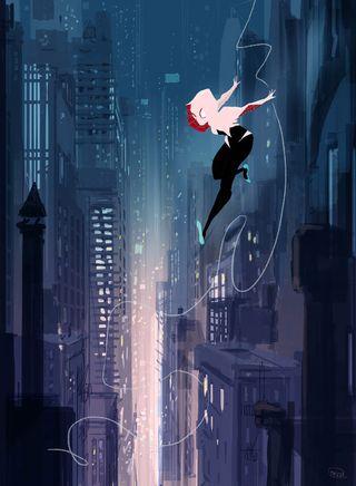 Обои на телефон летать, улица, паук, женщина, девушки, город, веб, spider-gwen, gwen