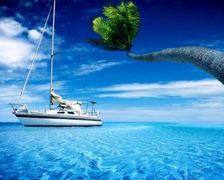 Обои на телефон лодки, пейзаж, парусные, океан, облака, skyscape