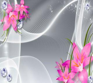 Обои на телефон серебряные, цветы, розовые, лилии, бриллианты