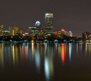 Обои на телефон ночь, горизонт, бостон, skyline